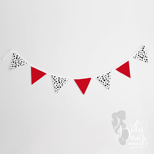 Red, Black & White Dalmatian Print Wall Fabric Pennant Banner