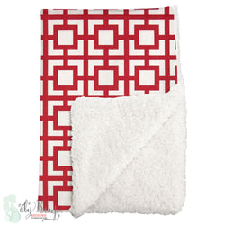 Red & White Gigi Sherpa Baby Blanket