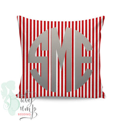 Red & White Stripes Square Throw Pillow Cover