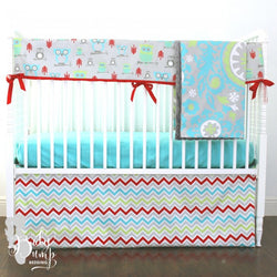 Red, Lime Green, and Aqua Owl Baby Boy Crib Bedding Set