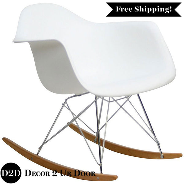 Modern Plastic Molded Rocker Lounge Chair