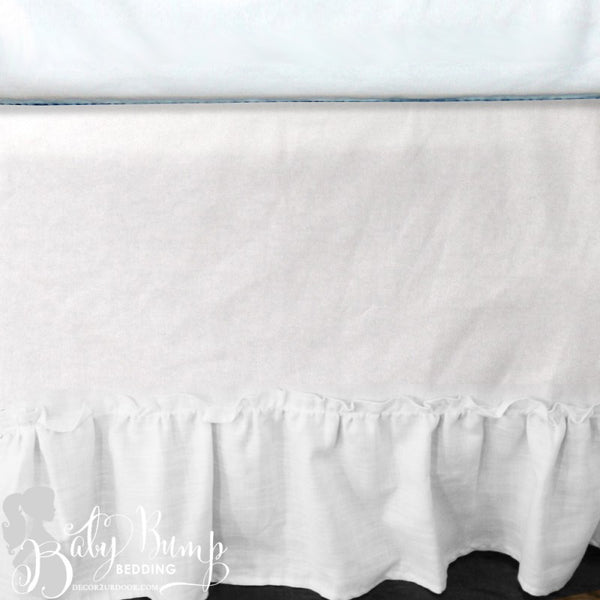 Frilly White Ruffled Baby Crib Skirt