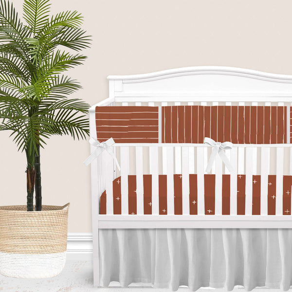 Rust Red Bone Stripes Gender Neutral Baby Bedding Set