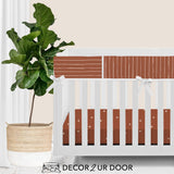 Rust Red Bone Stripes Bumperless Crib Bedding Set
