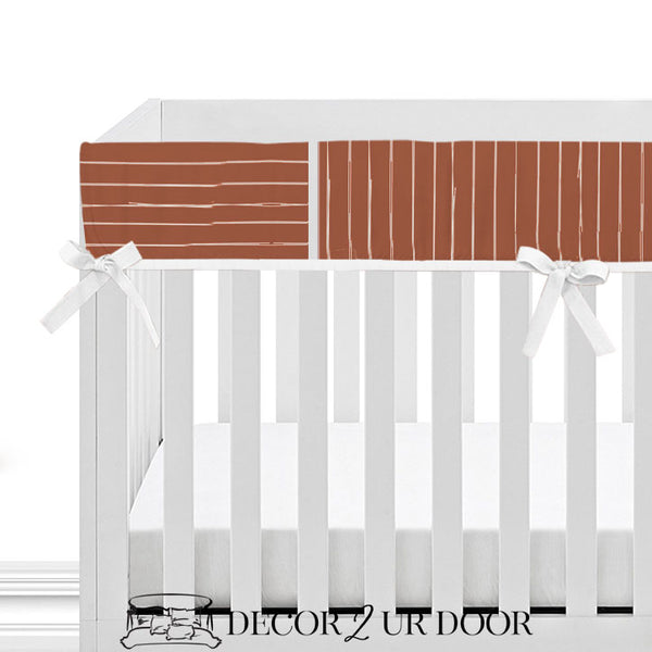 Rust Red Bone Stripes Baby Crib Rail Cover