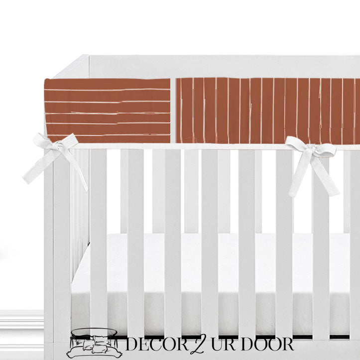 Rust Red Bone Stripes 2-in-1 Crib Bumper/Rail Cover