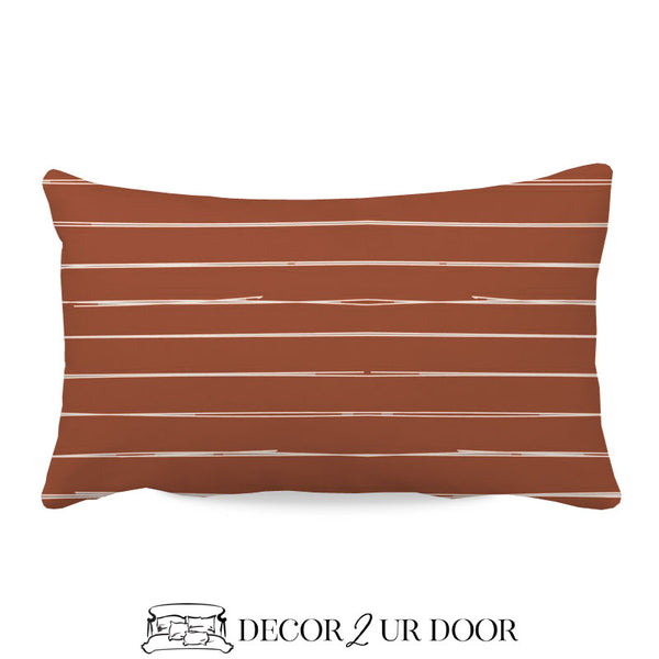 Rust Red Bone Stripes Lumbar Nursery Throw Pillow Cover