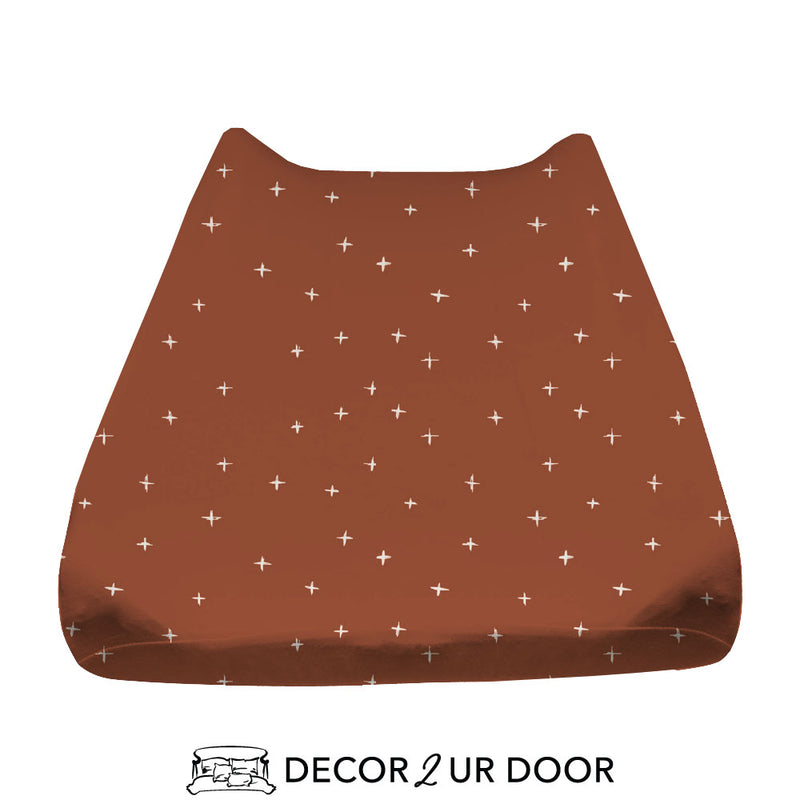 Rust Red Swiss Cross Baby Changing Pad Cover