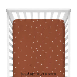 Rust Red Swiss Cross Fitted Crib Sheet