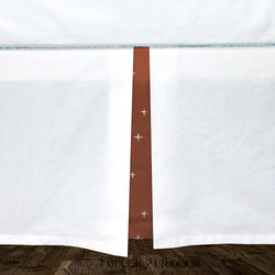 White & Rust Red Swiss Cross Baby Crib Skirt