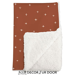 Rust Red Swiss Cross Sherpa Baby Blanket