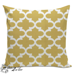 Saffron Yellow Quatrefoil Designer Euro Pillow Cover