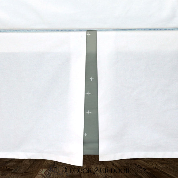 White & Sage Green Swiss Cross Baby Crib Skirt