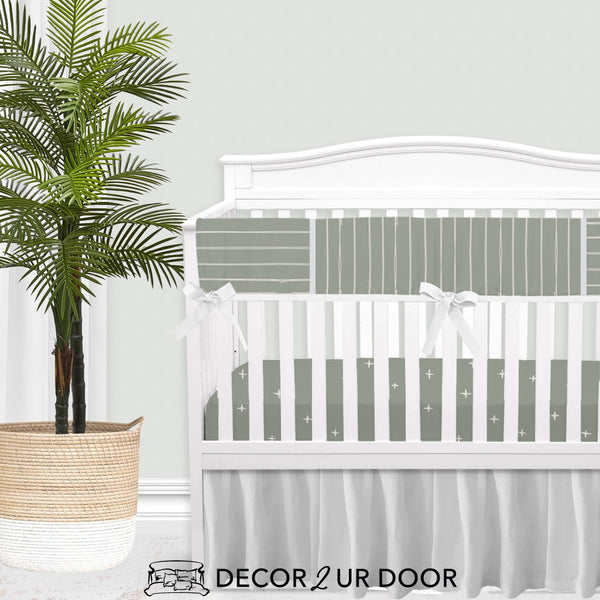 Sage Green Bone Stripes Gender Neutral Baby Bedding Set