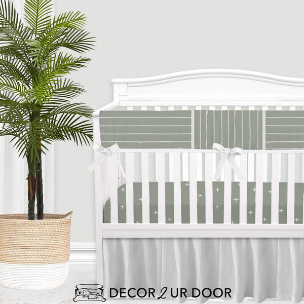 Sage Green Bone Stripes Baby Crib Rail Cover