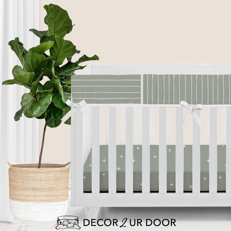 Sage Green Bone Stripes Bumperless Crib Bedding Set