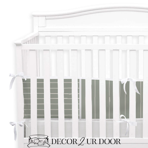 Sage Green Bone Stripes 2-in-1 Crib Bumper/Rail Cover