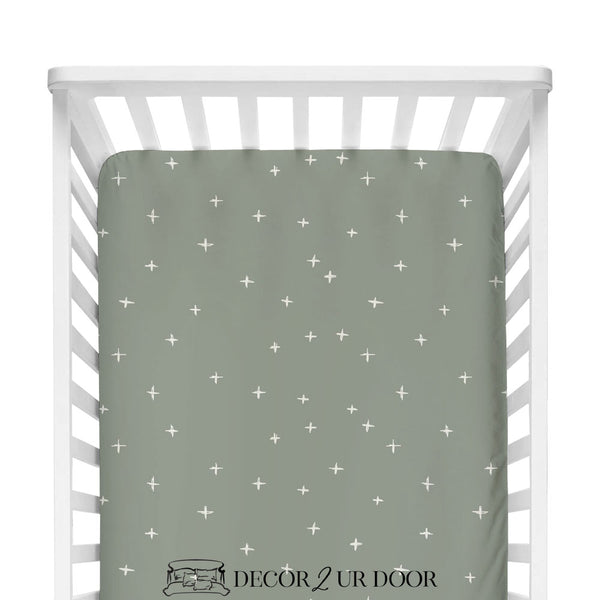 Sage Green Swiss Cross Fitted Crib Sheet