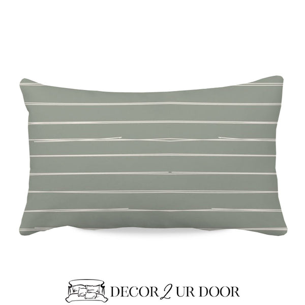 Sage Green Bone Stripes Lumbar Nursery Throw Pillow Cover
