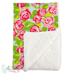 Preppy Floral Chic Sherpa Baby Blanket