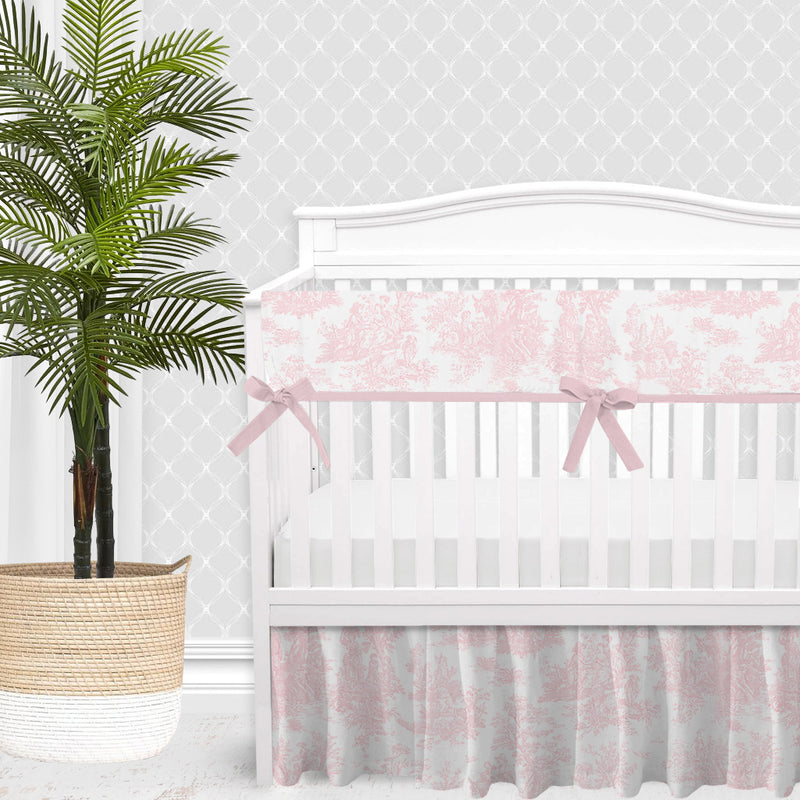 Shabby Chic Pink Toile Baby Girl Crib Bedding Set