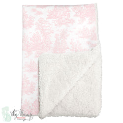 Shabby Chic Pink Toile Sherpa Baby Blanket