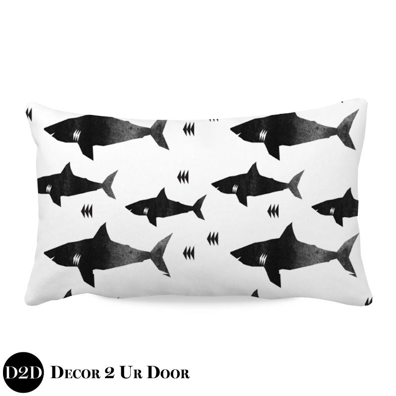 Black & White Shark Attack Lumbar Nursery Throw Pillow Cover