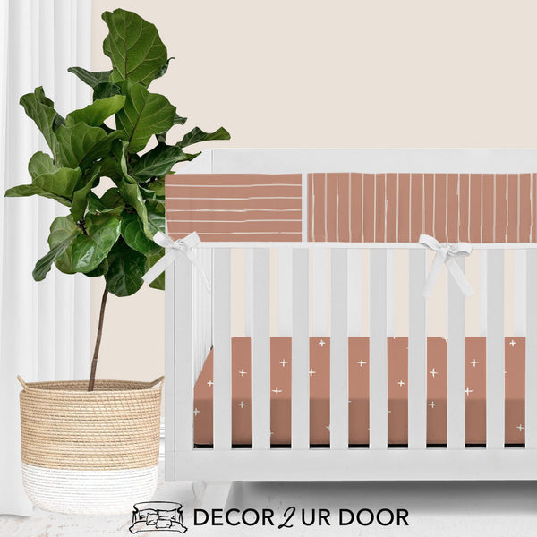 Sienna Bone Stripes Bumperless Crib Bedding Set