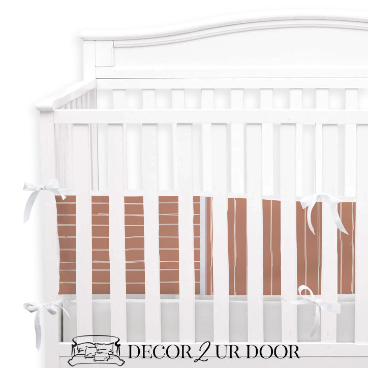 Sienna Bone Stripes 2-in-1 Crib Bumper/Rail Cover