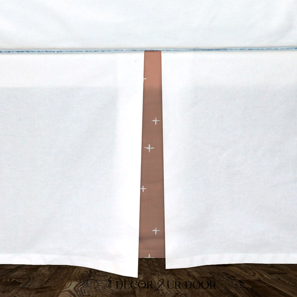 White & Sienna Swiss Cross Baby Crib Skirt