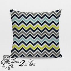 Slub Canal Green Zoom Zoom Square Throw Pillow Cover
