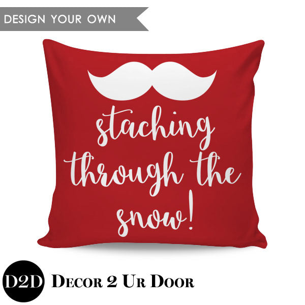 Staching Through The Snow Square Throw Pillow Cover
