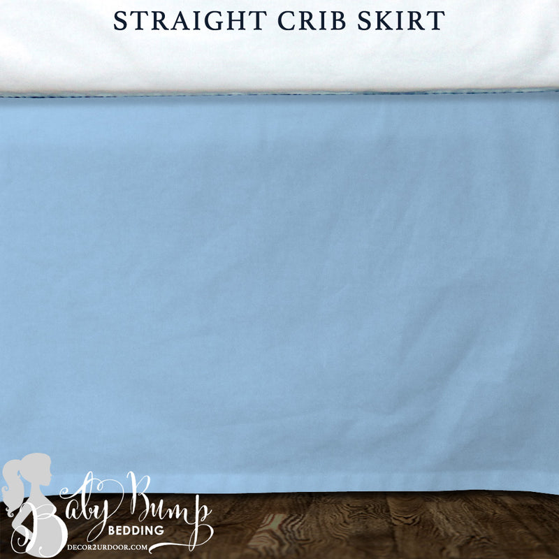 Solid Baby Blue Baby Crib Skirt