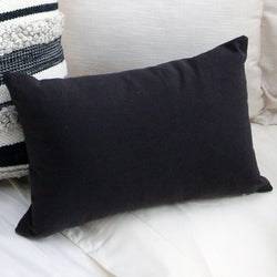 Solid Black Lumbar Pillow Cover