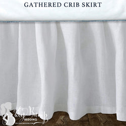 Solid White Linen Baby Crib Skirt