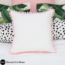 White & Blush Pink Pom Poms Square Pillow Cover