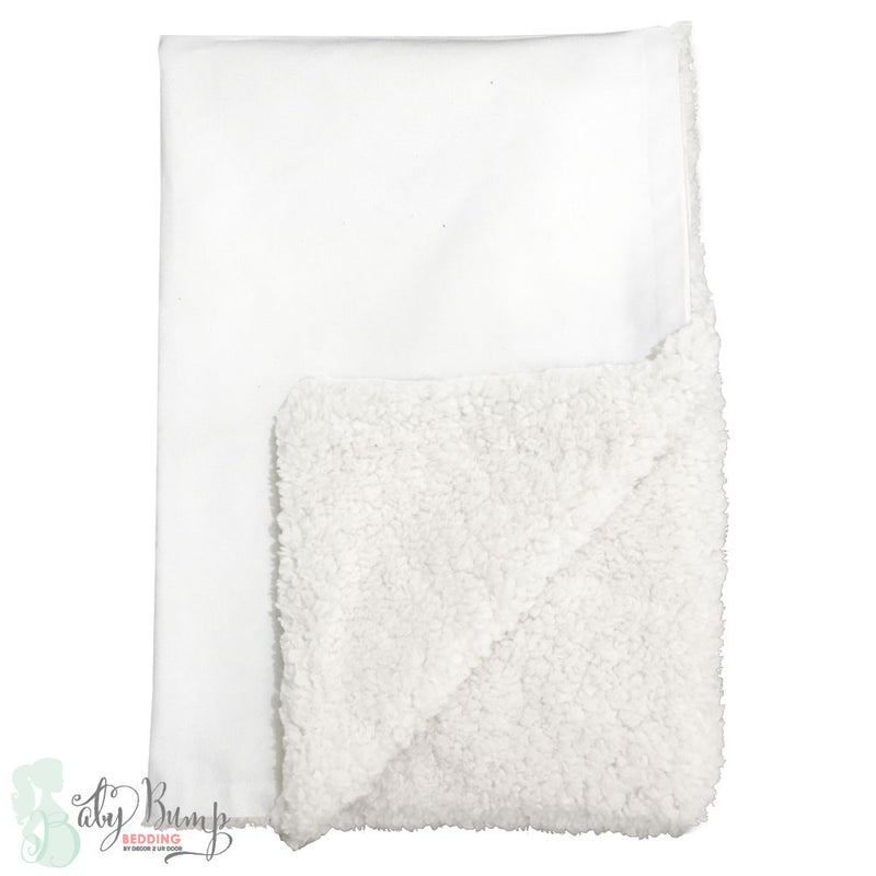 Solid White Linen Sherpa Baby Blanket