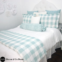Spa Blue Farmhouse Gingham Plaid Designer Bedding Collection