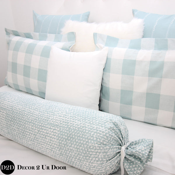 Spa Blue Gingham Plaid Sham