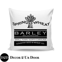 Spring Wheat Farmhouse Square Throw Pillow Cover