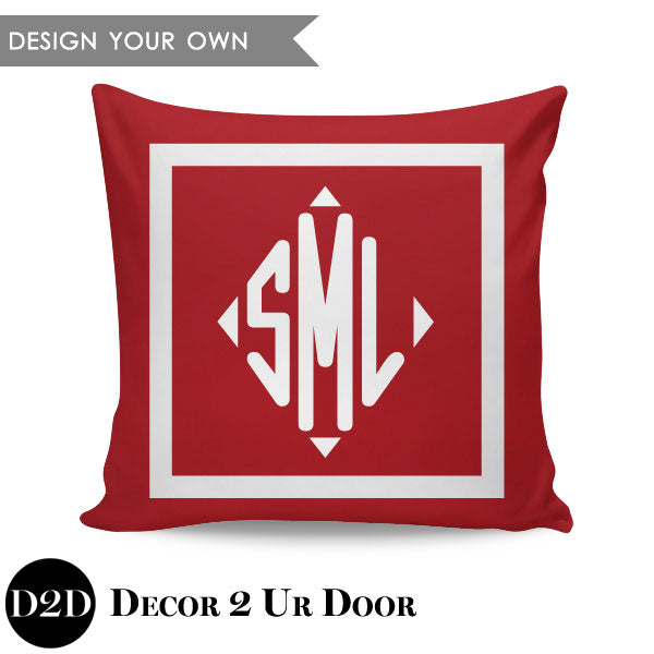 Square Border Monogram Square Personalized Pillow Cover