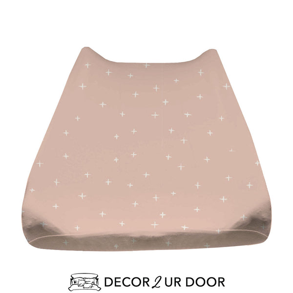 Ballet Pink Swiss Cross Baby Changing Pad Cover
