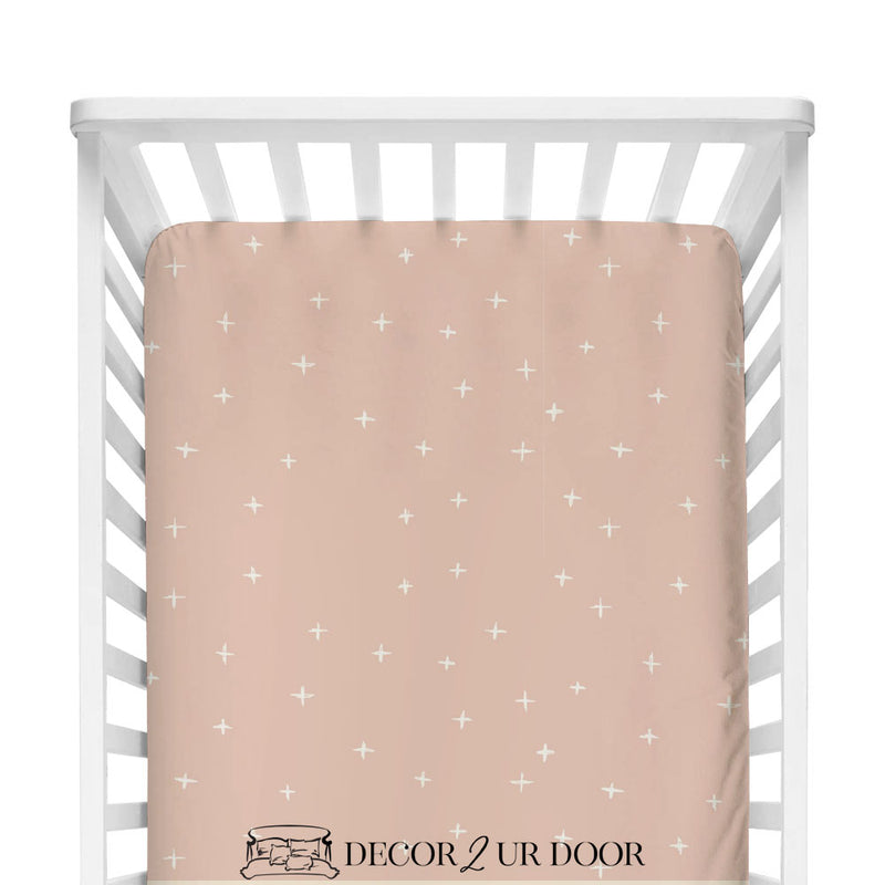 Ballet Pink Swiss Cross Fitted Crib Sheet