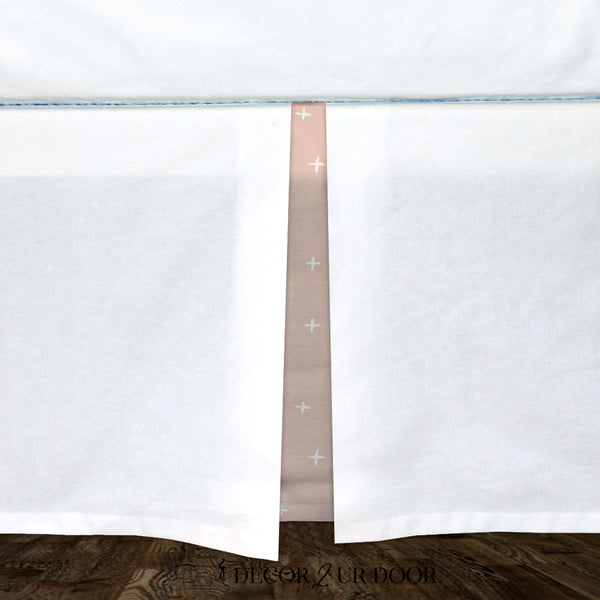 White & Ballet Pink Swiss Cross Baby Crib Skirt