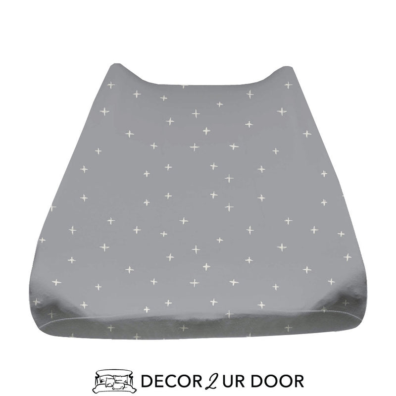 Blue Metal Swiss Cross Baby Changing Pad Cover