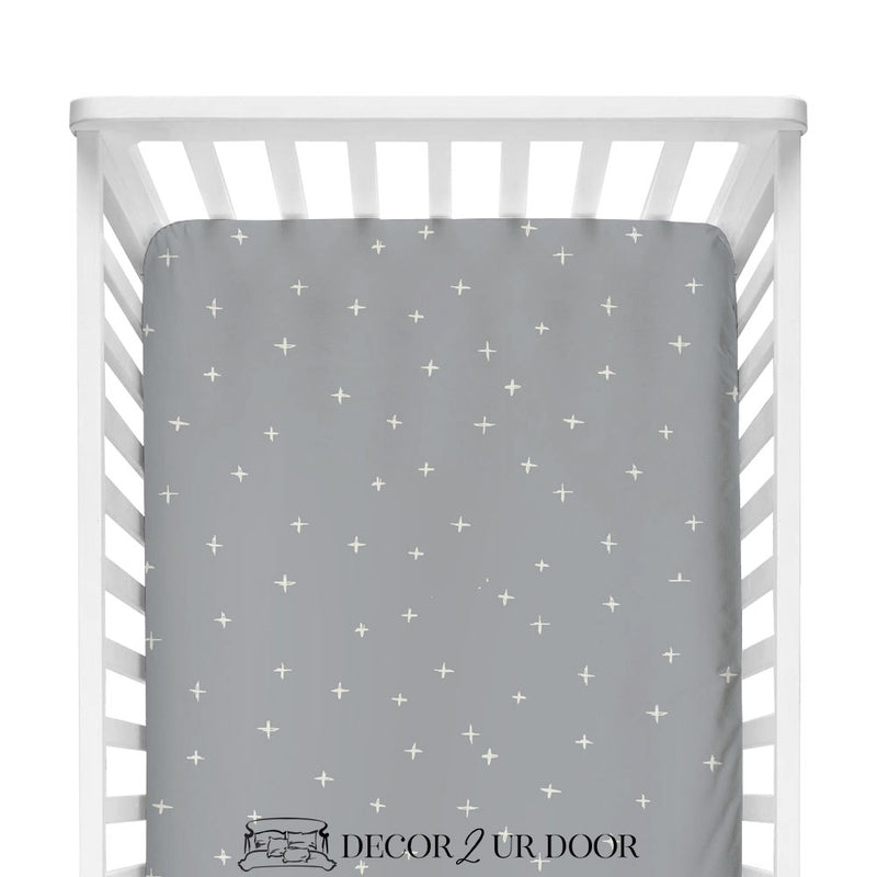 Blue Metal Swiss Cross Fitted Crib Sheet