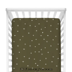 Dark Khaki Swiss Cross Fitted Crib Sheet