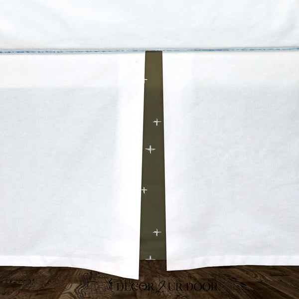 White & Dark Khaki Swiss Cross Baby Crib Skirt