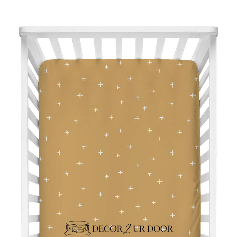 Mustard Gold Swiss Cross Fitted Crib Sheet