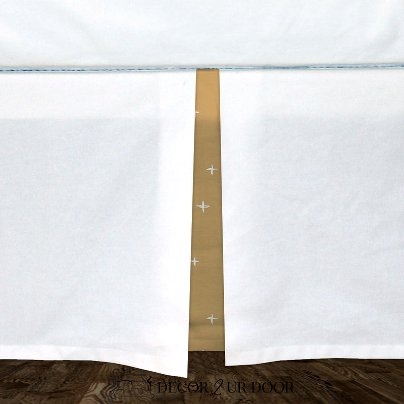 White & Mustard Gold Swiss Cross Baby Crib Skirt